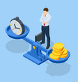 isometric time is money concept money and time vector image
