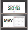may 2018 calendar desk calendar modern design vector image vector image