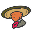 mexican man in sombrero sign vector image