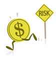 money running away from risk vector image vector image