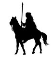 native american indian silhouette riding a horse vector image