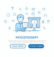physiotherapy concept with thin line icons vector image