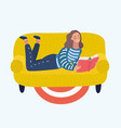 pretty girl relaxing and reading book at home vector image vector image