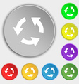 Refresh icon sign Symbol on five flat buttons vector image