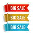 sale banner realistic red gold and blue glossy vector image vector image