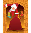 santa claus and chimney vector image vector image