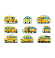 school bus in various forms passenger yellow car vector image vector image