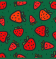 seamless pattern with red strawberries vector image vector image