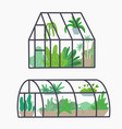 set different greenhouses with various plants vector image vector image