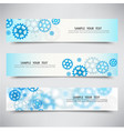 set of three banners with blue gearstechnology vector image
