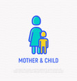single mother and child thin line icon vector image