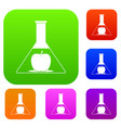 test flask with apple set color collection vector image vector image