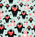 texture love monsters vector image