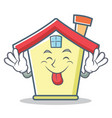 tongue out house character cartoon style vector image vector image