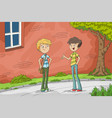 two boys are talking vector image vector image