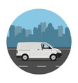 van over city background vector image vector image