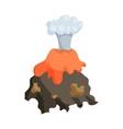 Volcano erruption and lava icon cartoon style vector image vector image
