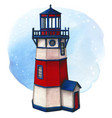 watercolor hand painted lighthouse red white and vector image