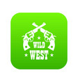 wild west revolver icon green vector image