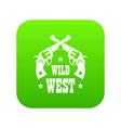 wild west revolver icon green vector image vector image