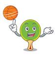 with basketball ping pong racket character cartoon vector image