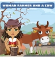 Woman farmer and a cow on the ranch vector image