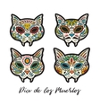Greeting card with sugar skull cats Traditional vector image