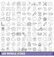 100 mobile icons set outline style vector image vector image