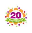 20th anniversary colored logo design happy vector image vector image