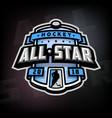 all stars hockey logo emblem vector image vector image