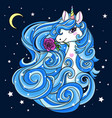 beautiful white unicorn with a blue long mane vector image