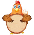 blank sign template with brown chicken on white vector image vector image