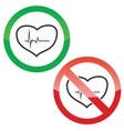 Cardiology permission signs set vector image vector image