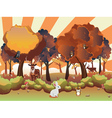 Cartoon Autumn Forest with Animals5 vector image