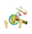 Child Cooking Salad With Only Hands vector image vector image