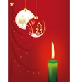 Christmas balls and candle vector image