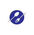 circle spoon frok restaurant logo vector image