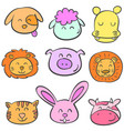 collection stock animal colorful doodles vector image vector image