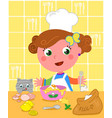 cute girl cooking with chef hat vector image