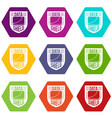 data shield icons set 9 vector image vector image