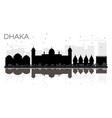 dhaka city skyline black and white silhouette vector image vector image