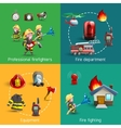 Fire Fighters 4 Icons Square Composition vector image