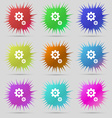 gears icon sign A set of nine original needle vector image vector image