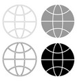 globe the black and grey color set icon vector image
