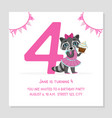 happy birthday 4 years banner template birthday vector image vector image