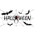 happy halloween card drip text spider web vector image