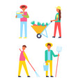 harvesting people icons set vector image vector image