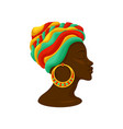 head of young black woman in a turban side view vector image vector image