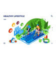 healthy lifestyle or sport training application vector image vector image