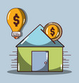 house to save money and coin vector image vector image